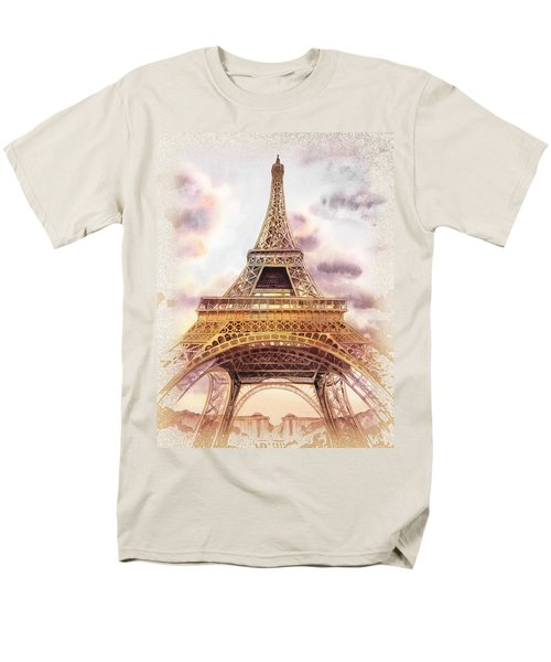 Men's T-Shirt  (Regular Fit) featuring the painting Eiffel Tower Vintage Art by Irina Sztukowski