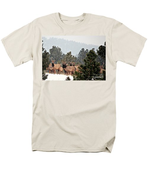 Men's T-Shirt  (Regular Fit) featuring the photograph Elk In The Snowing Open by Barbara Chichester