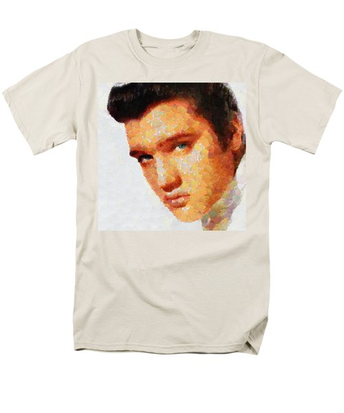 Men's T-Shirt  (Regular Fit) featuring the painting Elvis Presley The King Of Rock Music by Georgi Dimitrov