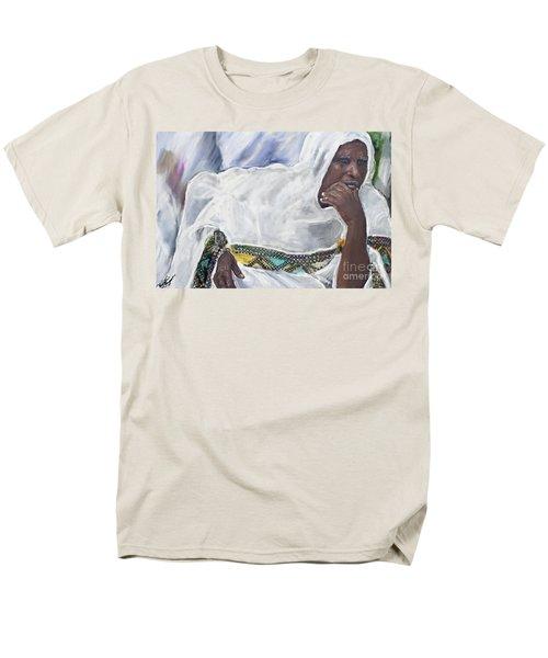 Men's T-Shirt  (Regular Fit) featuring the painting Ethiopian Orthodox Jewish Woman by Vannetta Ferguson