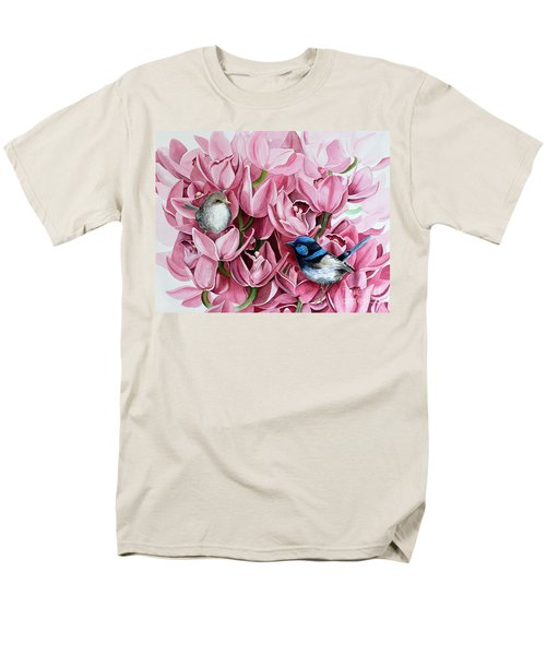 Fairy Wrens And Orchids Men's T-Shirt  (Regular Fit) by Debbie Hart