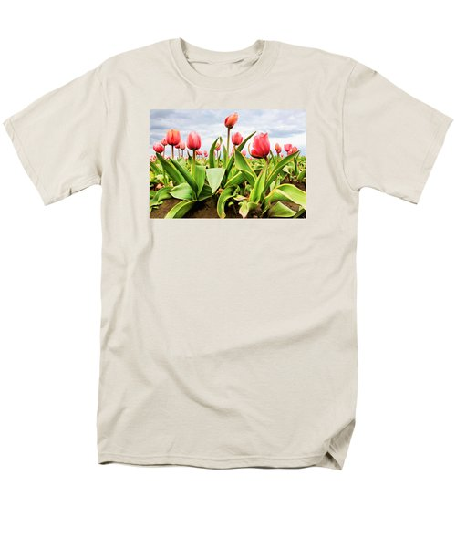 Men's T-Shirt  (Regular Fit) featuring the photograph Field Of Pink Tulips by Athena Mckinzie