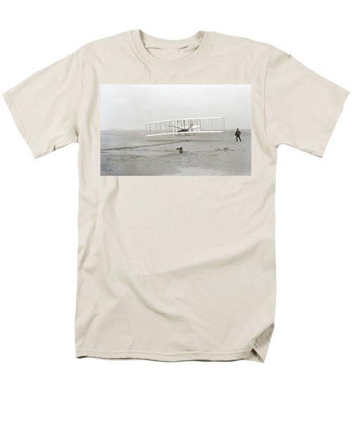First Flight Captured On Glass Negative - 1903 Men's T-Shirt  (Regular Fit) by Daniel Hagerman