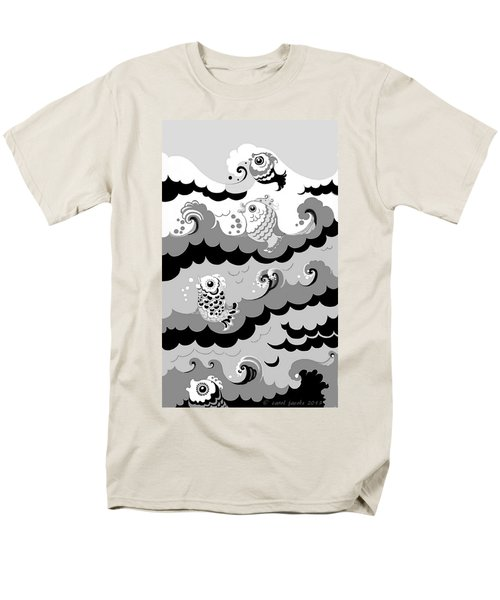 Men's T-Shirt  (Regular Fit) featuring the digital art Fish Waves by Carol Jacobs