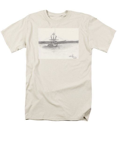 Men's T-Shirt  (Regular Fit) featuring the drawing Fishing Boat by David Jackson
