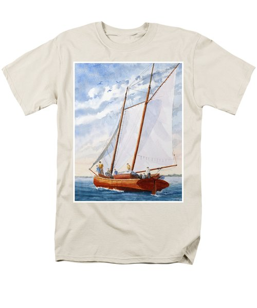 Men's T-Shirt  (Regular Fit) featuring the painting Florida Catboat At Sea by Roger Rockefeller