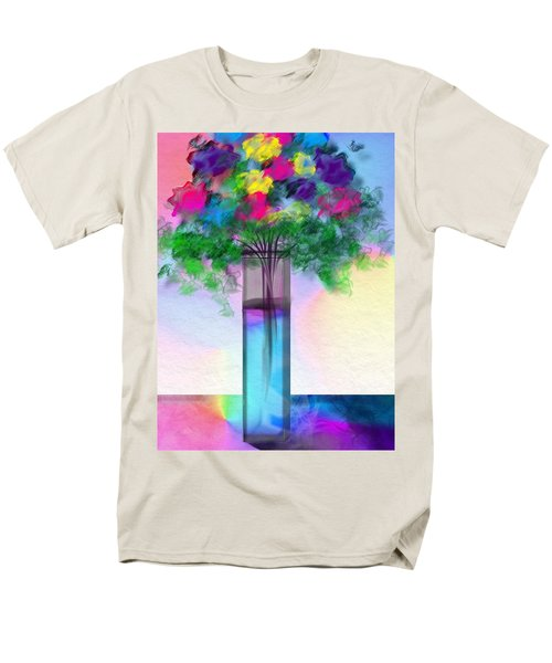 Men's T-Shirt  (Regular Fit) featuring the digital art Flowers In A Glass Vase by Frank Bright