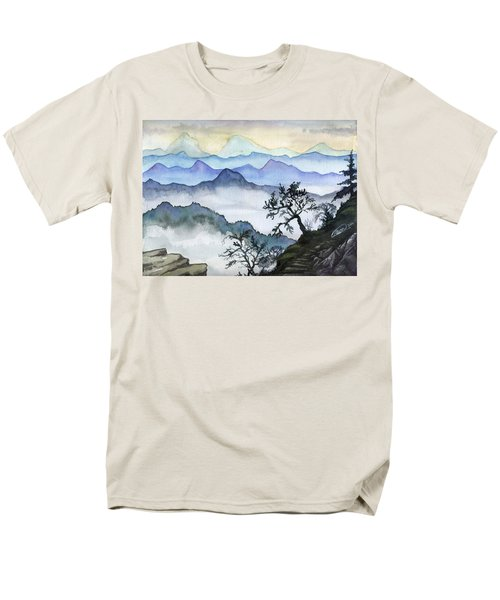 Foggy Mountaines Sunset View  Men's T-Shirt  (Regular Fit) by Alban Dizdari