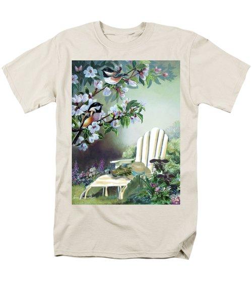 Chickadees In Blossom Tree Men's T-Shirt  (Regular Fit) by Regina Femrite