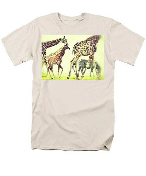 Men's T-Shirt  (Regular Fit) featuring the photograph Giraffes And A Zebra In The Mist by Nick  Biemans