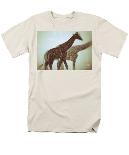 Men's T-Shirt  (Regular Fit) featuring the photograph Giraffes In The Mist by Nick  Biemans