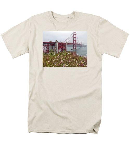 Golden Gate Bridge And Summer Flowers Men's T-Shirt  (Regular Fit) by Connie Fox