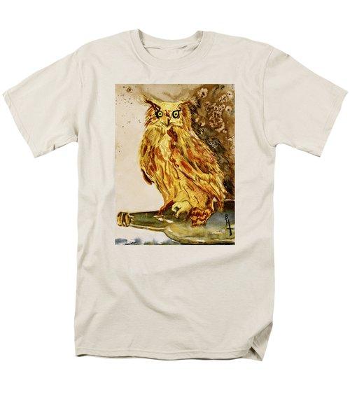 Men's T-Shirt  (Regular Fit) featuring the painting Goldene Bier Eule by Beverley Harper Tinsley