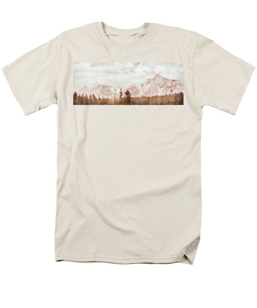 Men's T-Shirt  (Regular Fit) featuring the painting Grand Teton Mountains by Greg Collins