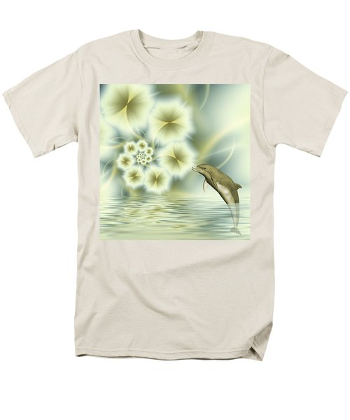 Happy Dolphin In A Surreal World Men's T-Shirt  (Regular Fit) by Gabiw Art