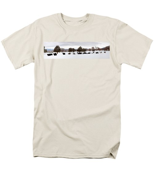 Herd Of Yaks Bos Grunniens On Snow Men's T-Shirt  (Regular Fit) by Panoramic Images