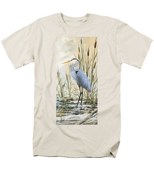 Heron And Cattails Men's T-Shirt  (Regular Fit) by James Williamson