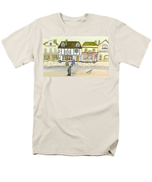 Men's T-Shirt  (Regular Fit) featuring the painting High Street by Loredana Messina