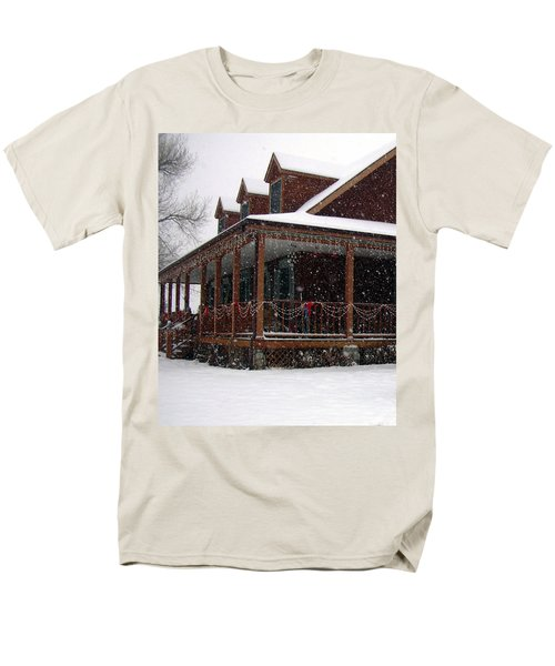 Holiday Porch Men's T-Shirt  (Regular Fit) by Claudia Goodell