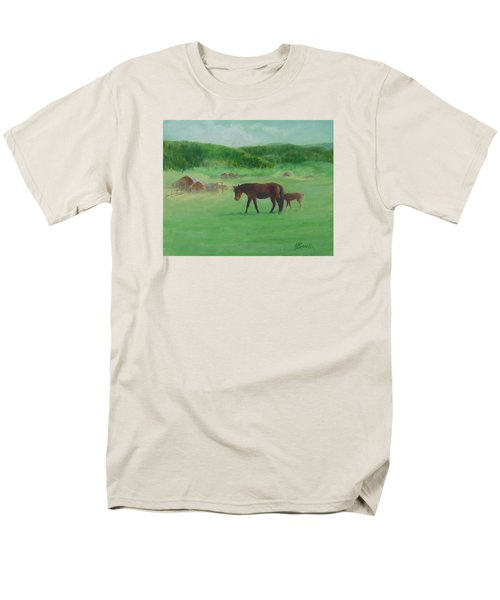Horses Rural Pasture Western Landscape Original Oil Colorful Art Oregon Artist K. Joann Russell Men's T-Shirt  (Regular Fit) by Elizabeth Sawyer