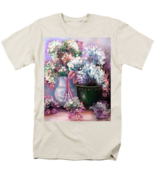 Men's T-Shirt  (Regular Fit) featuring the painting Hydrangeas Still Life Pink by Patrice Torrillo