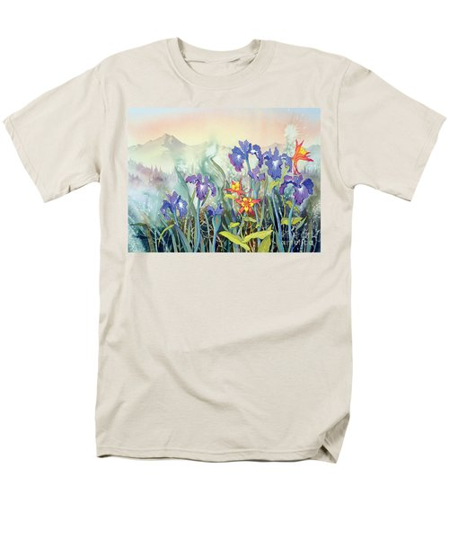 Men's T-Shirt  (Regular Fit) featuring the painting Iris And Columbine II by Teresa Ascone