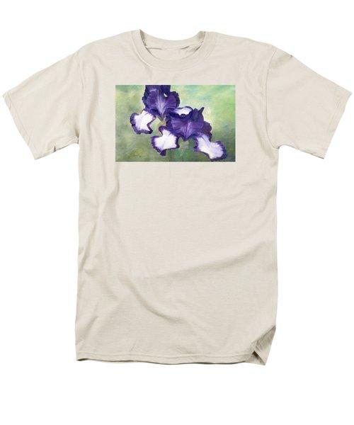 Irises Duet In Purple Flowers Colorful Original Painting Garden Iris Flowers Floral K. Joann Russell Men's T-Shirt  (Regular Fit) by Elizabeth Sawyer