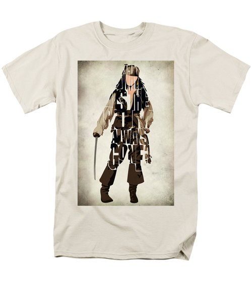 Jack Sparrow Inspired Pirates Of The Caribbean Typographic Poster Men's T-Shirt  (Regular Fit) by Ayse Deniz