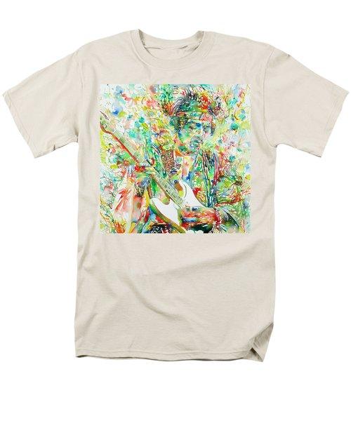 Jimi Hendrix Playing The Guitar Portrait.1 Men's T-Shirt  (Regular Fit)