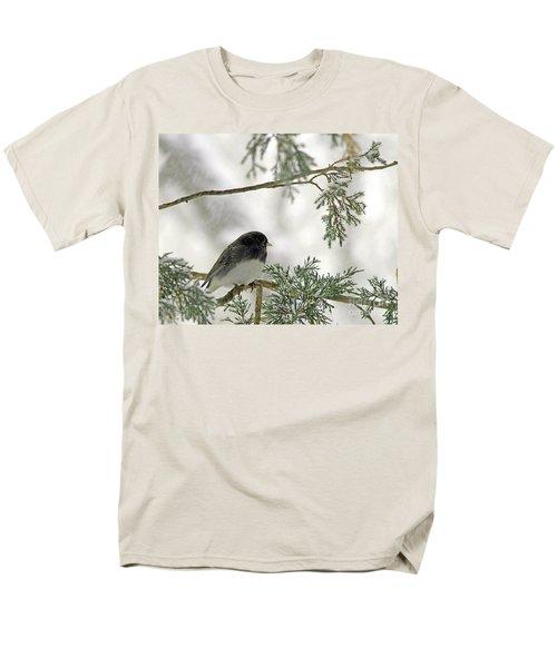Junco In Snowstorm Men's T-Shirt  (Regular Fit) by Paula Guttilla