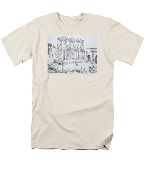 Men's T-Shirt  (Regular Fit) featuring the painting Library At Ephesus by Marilyn Zalatan