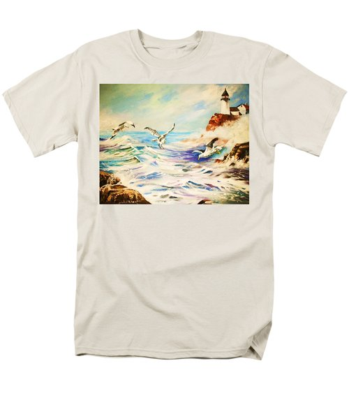 Men's T-Shirt  (Regular Fit) featuring the painting Lighthouse Gulls And Waves by Al Brown