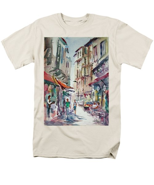 Men's T-Shirt  (Regular Fit) featuring the painting Little Trip At Exotic Streets In Istanbul by Faruk Koksal