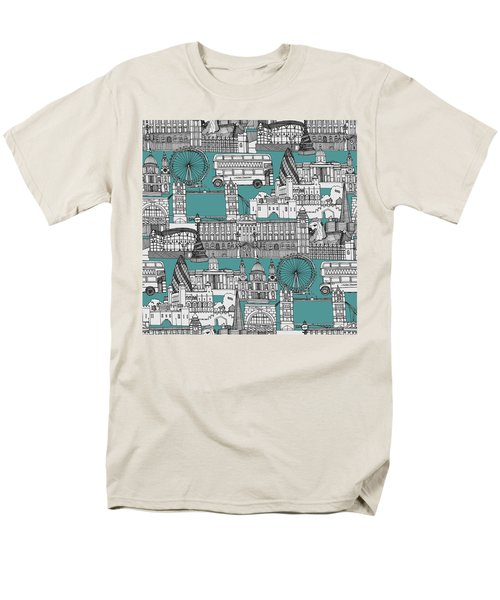 London Toile Blue Men's T-Shirt  (Regular Fit) by Sharon Turner