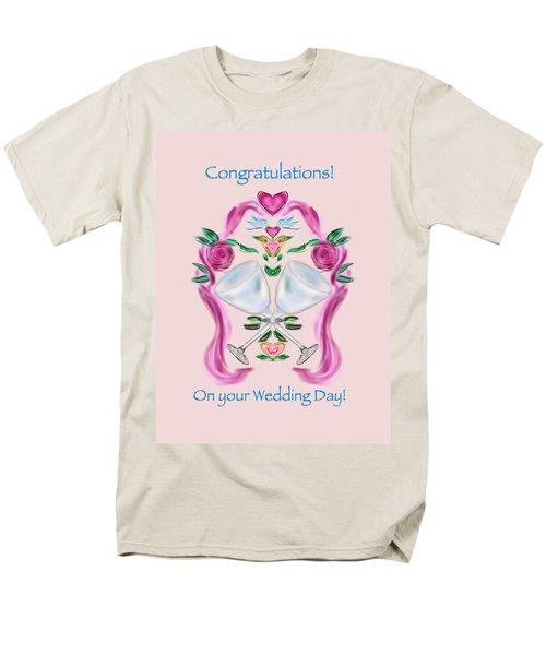 Men's T-Shirt  (Regular Fit) featuring the digital art Love Birds Pink Wedding by Christine Fournier