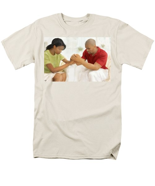 Men's T-Shirt  (Regular Fit) featuring the painting Man And Wife Pray by Vannetta Ferguson