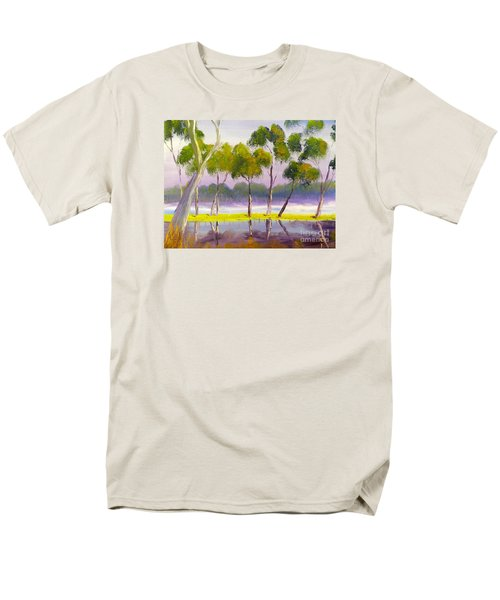 Men's T-Shirt  (Regular Fit) featuring the painting Marshlands Murray River Red River Gums by Pamela  Meredith