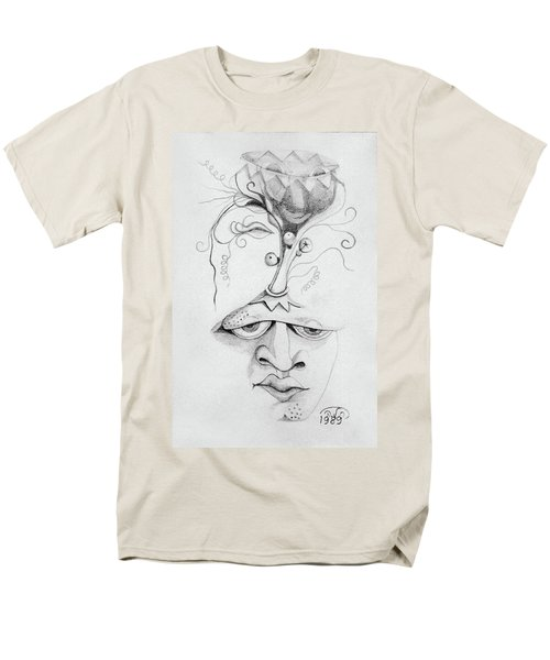 Meditation On The Crown Chakra Or Where Is Your Mind Going Surrealistic Fantasy Of Face With Energy  Men's T-Shirt  (Regular Fit) by Rachel Hershkovitz