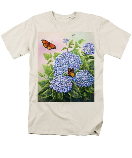 Monarchs And Hydrangeas Men's T-Shirt  (Regular Fit) by Gail Butler