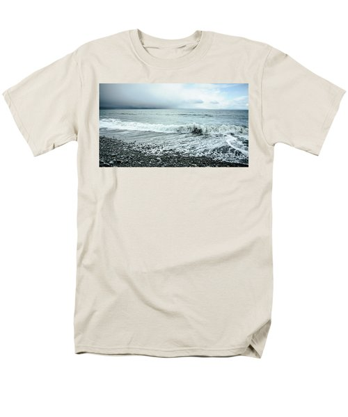 Moody Shoreline French Beach Men's T-Shirt  (Regular Fit) by Roxy Hurtubise