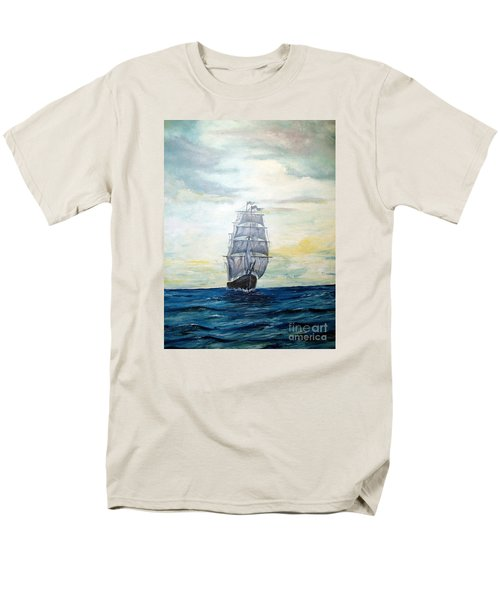 Men's T-Shirt  (Regular Fit) featuring the painting Morning Light On The Atlantic by Lee Piper