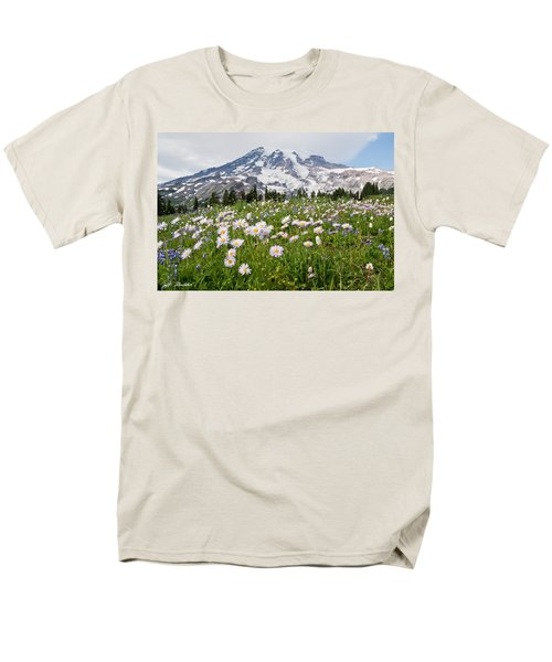 Men's T-Shirt  (Regular Fit) featuring the photograph Mount Rainier And A Meadow Of Aster by Jeff Goulden