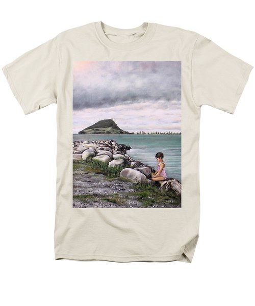 Men's T-Shirt  (Regular Fit) featuring the painting Mt Maunganui 140408 by Sylvia Kula