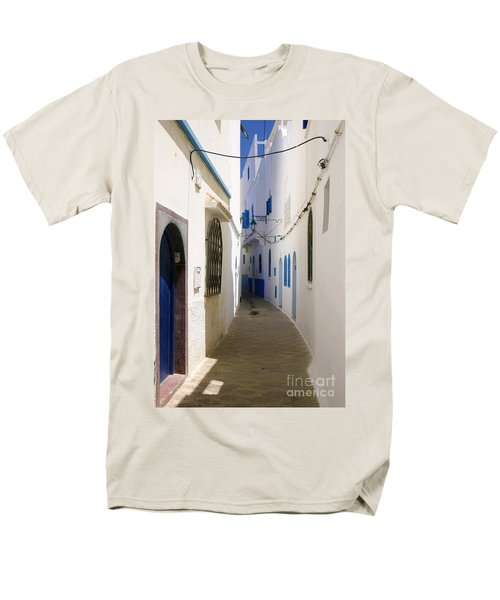 Men's T-Shirt  (Regular Fit) featuring the photograph Narrow Backstreet In The Medina Of Asilah On Northwest Tip Of Atlantic Coast Of Morocco by Ralph A  Ledergerber-Photography