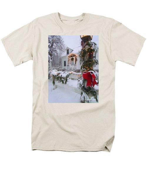 New England Christmas Men's T-Shirt  (Regular Fit) by Elizabeth Dow