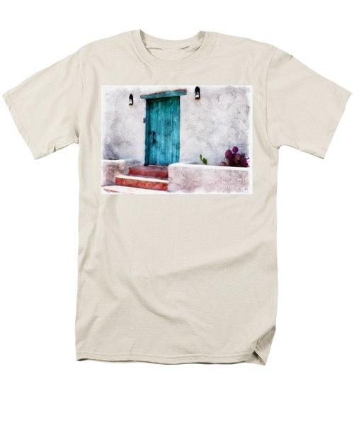 New Mexico Turquoise Door And Cactus  Men's T-Shirt  (Regular Fit) by Barbara Chichester