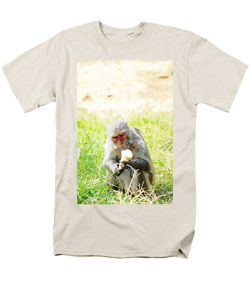 Oil Painting - A Monkey Eating An Ice Cream Men's T-Shirt  (Regular Fit) by Ashish Agarwal