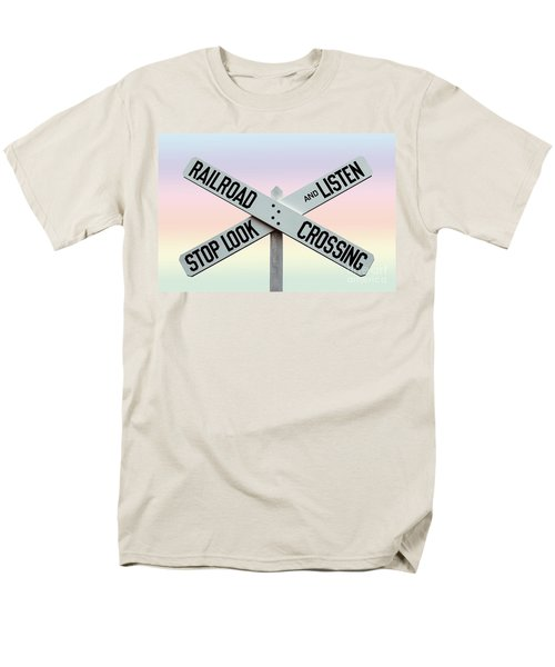 Old Railroad Crossing Sign Men's T-Shirt  (Regular Fit) by Phil Cardamone