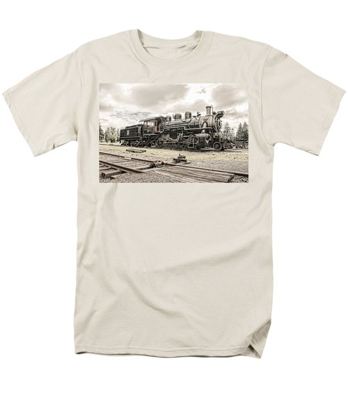 Men's T-Shirt  (Regular Fit) featuring the photograph Old Steam Locomotive No. 97 - Made In America by Gary Heller