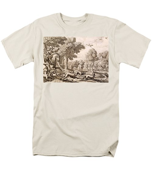 Otter Hunting By A River, Engraved Men's T-Shirt  (Regular Fit) by Francis Barlow
